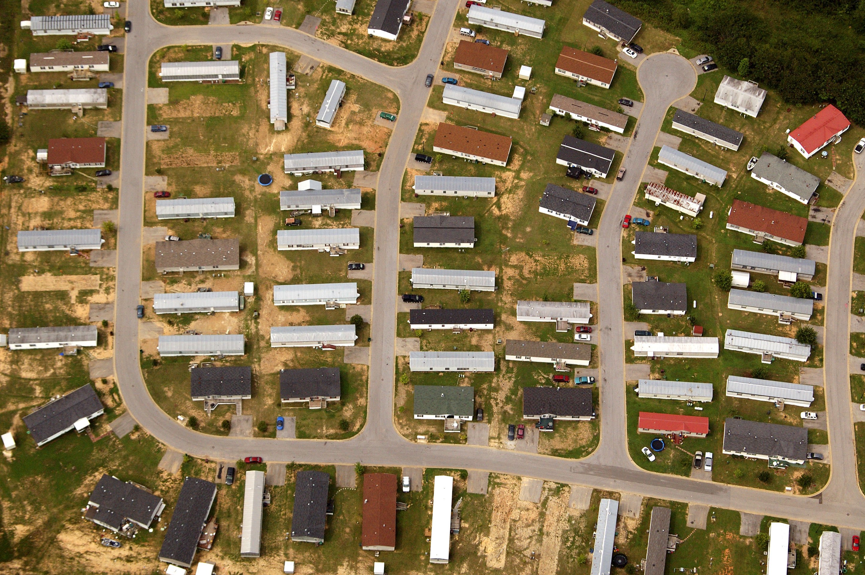 A near vertical aerial abstract of a manufactured home park.