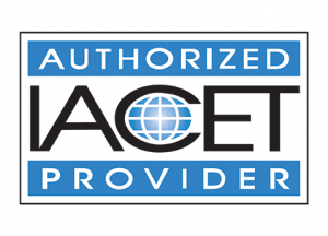 Blue IACET authorized provider logo.