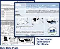 An IBTS performance verification certificate for a manufactured home containing maps and other data.
