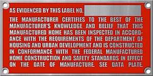 Image of a red HUD manufactured home label.