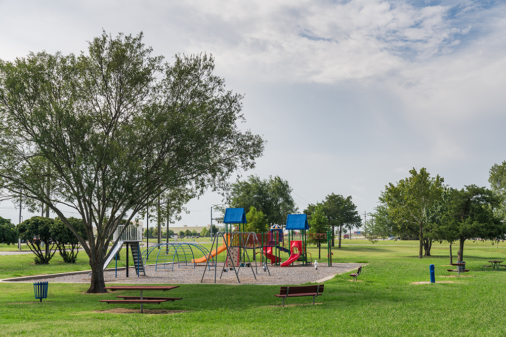 Wide-range view of playground surrounded by green space.