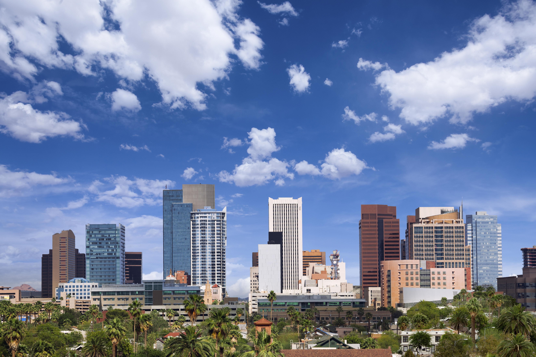 Skyline of Phoenix, Arizona, from a distance.