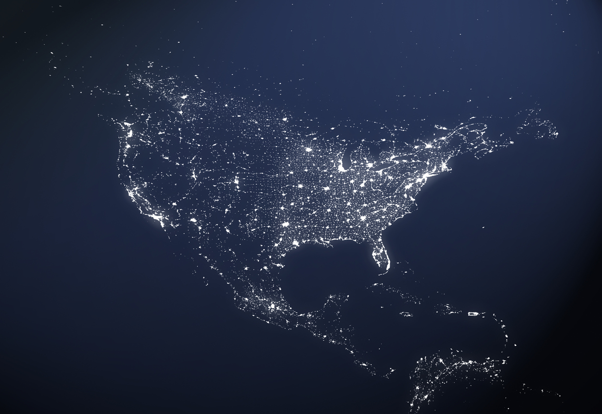City lights in North America as seen from space.
