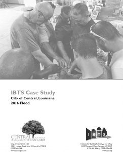 City of Central 2016 Flood case study cover, with title and an image of Central employees in a huddle/prayer circle.