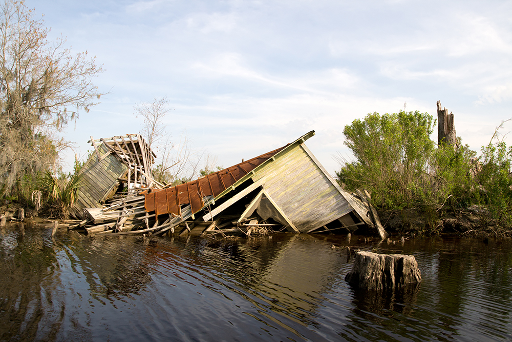 Damage from the storm surge of Hurricane Katrina flooded the Manchac Swamp, off Lake Maurepas, just north of New Orleans.