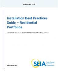 Cover of the Residential Installation Best Practices Guide