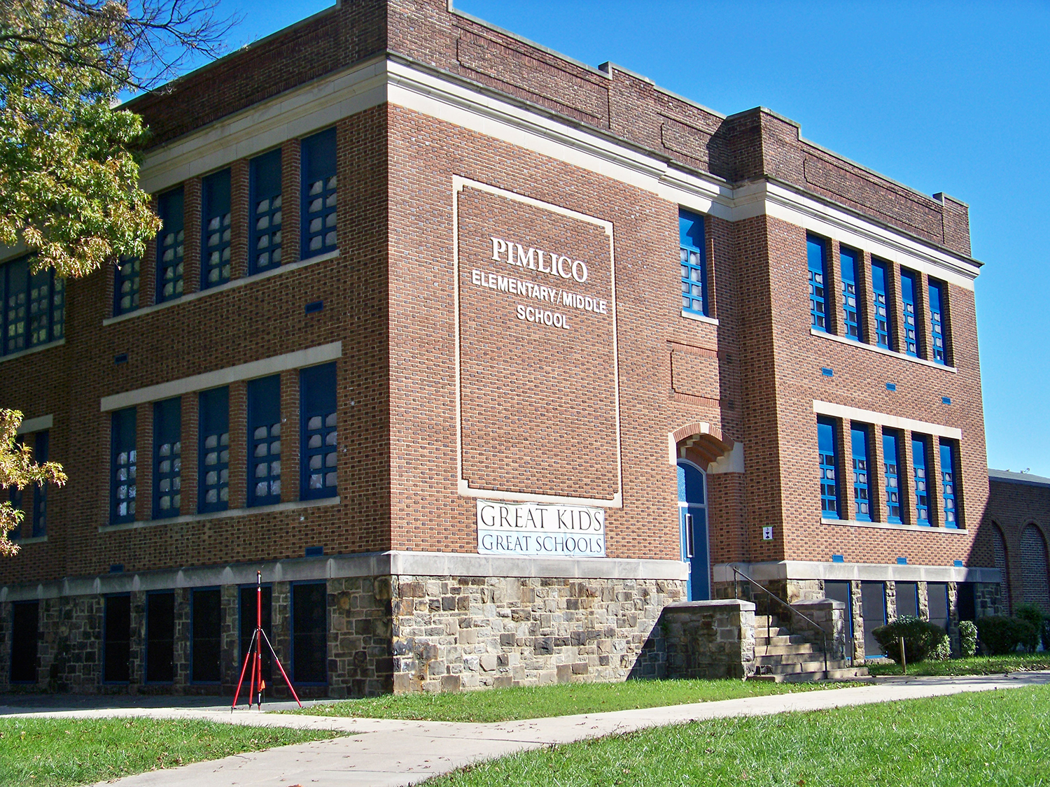A photo of the exterior of Pimlico Elementary School in Baltimore, MD